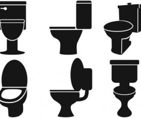 Different toilet silhouettes vector