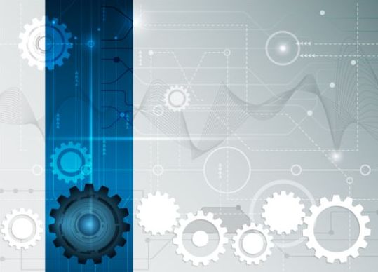 Digital telecom technology with gearwheel background vector 02