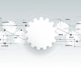 Digital telecom technology with gearwheel background vector 03