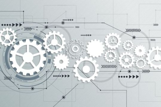 Digital telecom technology with gearwheel background vector 04