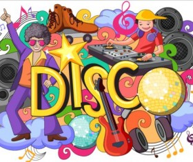 Disco doodle vector illustration