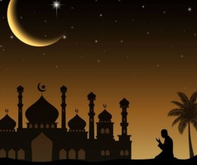 Eid mubarak night moon background vector
