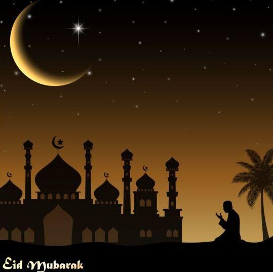 Eid mubarak night moon background vector