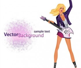 Fashion girl and guitar background vector 05