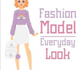Fashion model vector material 05