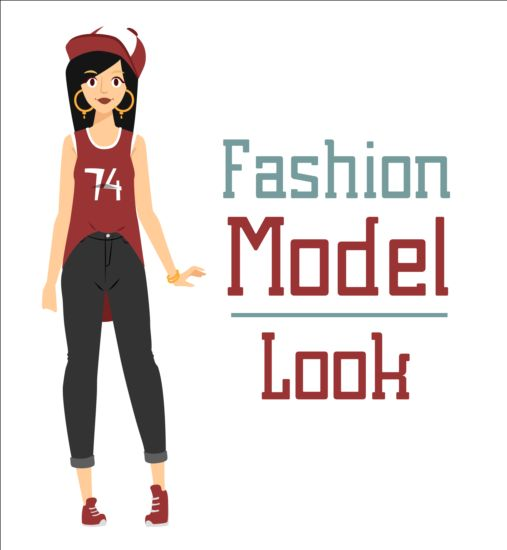 Fashion model vector material 06