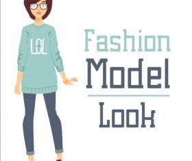 Fashion model vector material 07