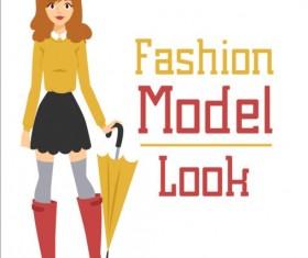 Fashion model vector material 08
