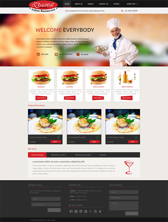Fast food website psd template free download