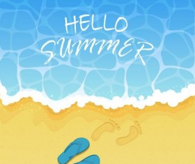 Flip flops and footprints with beach vector