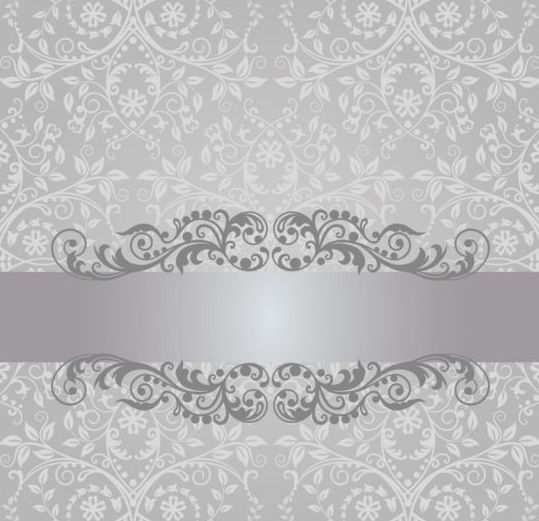 Backdrops Silver Wedding Invitations: Floral Damask Vintage Invitation Background Vector 02 Free