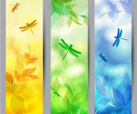 Floral with dragonfly banners vector