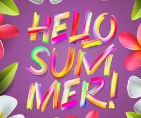 Flower frame with summer background vector 01