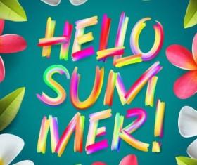 Flower frame with summer background vector 02