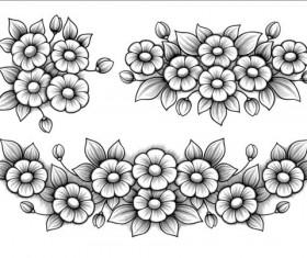 Flowers engraving vectors material