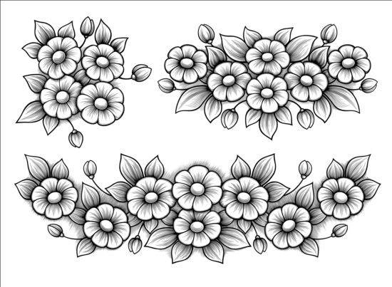 Flowers engraving vectors material