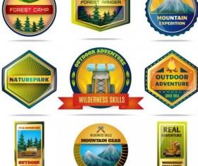 Forest camp labels vector set