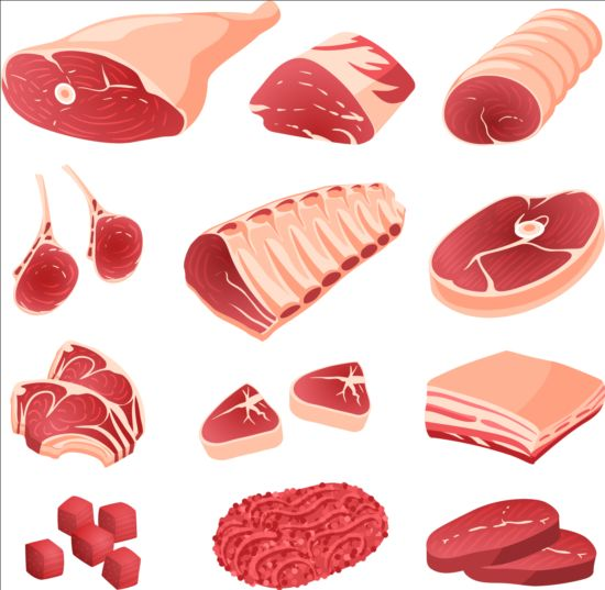 Fresh meat and ham vectors 02 - Vector Food free download