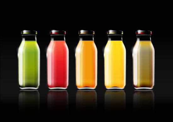 Fruit juice and glass bottle vector