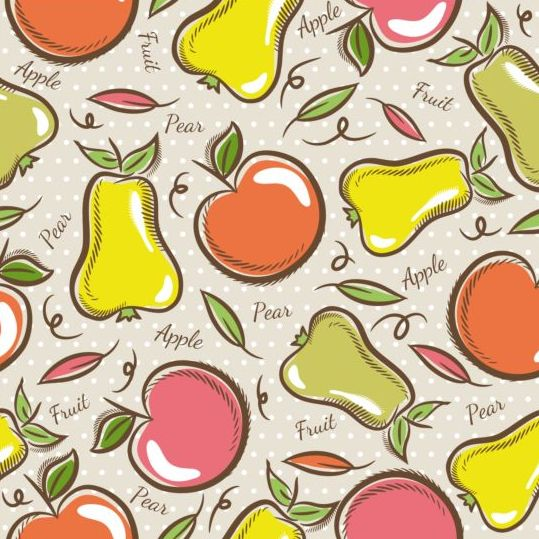 Fruits hand drawn vector seamless pattern 09