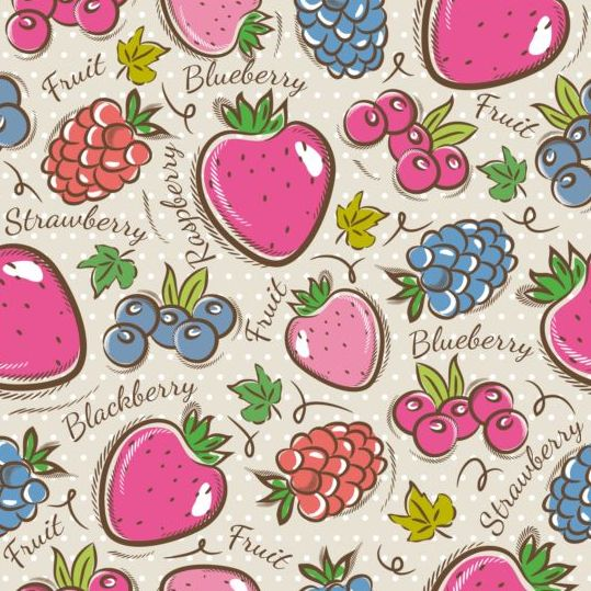 Fruits hand drawn vector seamless pattern 10
