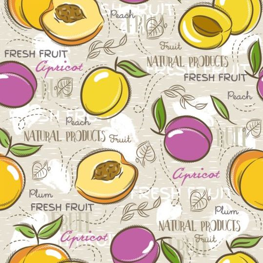Fruits hand drawn vector seamless pattern 16