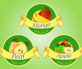 Fruits labels with ribbon vector 01