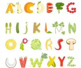 Fruits with vegetable alphabet vector