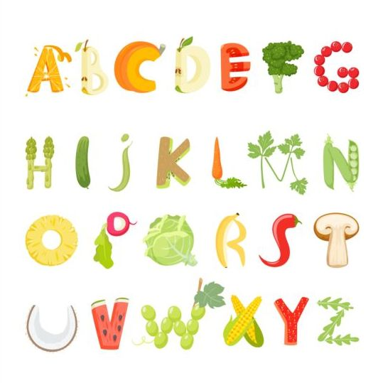 Fruits with vegetable alphabet vector - Vector Font free download