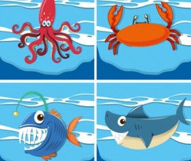 Funny marine animals cartoon vector 01