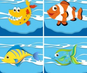 Funny marine animals cartoon vector 02