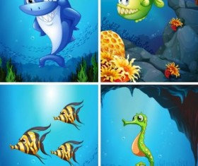 Funny marine animals cartoon vector 03