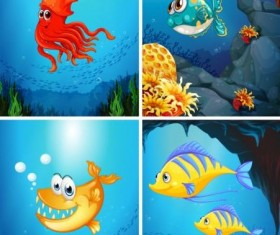 Funny marine animals cartoon vector 04