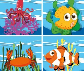 Funny marine animals cartoon vector 05