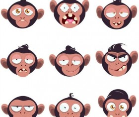 Funny monkey expression icons vector