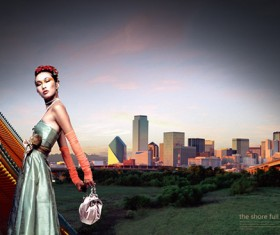 Girl with city background PSD graphic