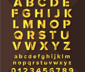 Gold paper alphaber with numbers vector