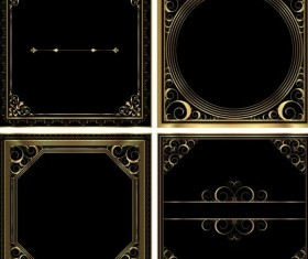 Gold scroll frames vector material