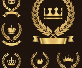 Gold wreath crown with ribbon vector