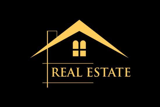 Golden real estate logo vector