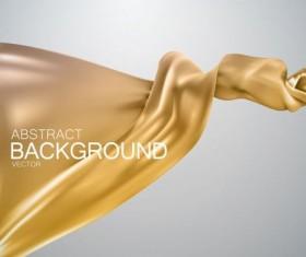 Golden silk fabric background vector