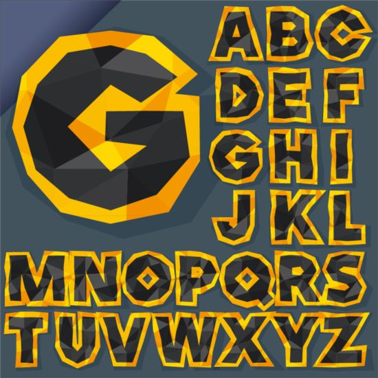 Golden with black alphabet and geometric shapes vector