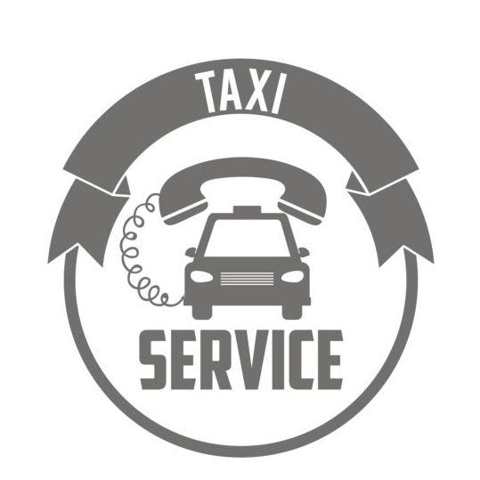 Gray taxi labels set vector 01
