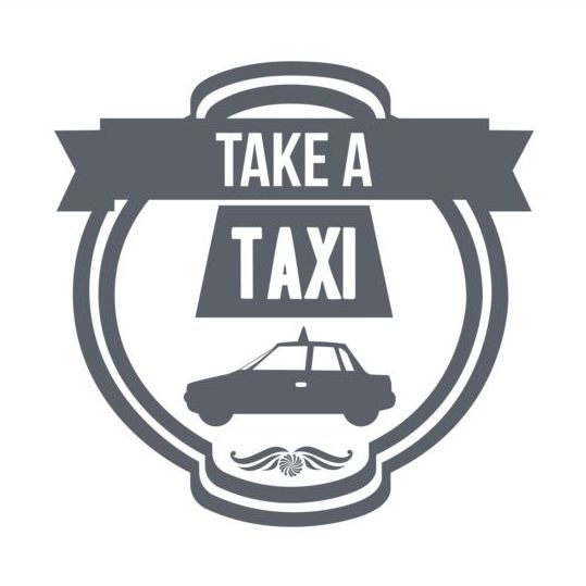 Gray taxi labels set vector 11