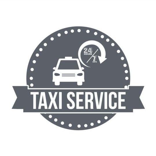 Gray taxi labels set vector 12