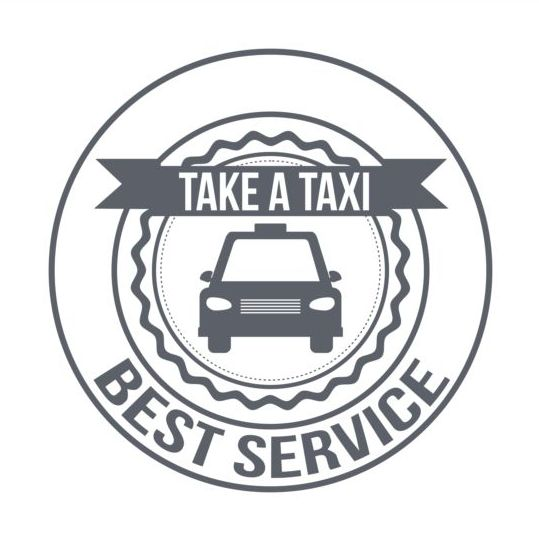 Gray taxi labels set vector 14