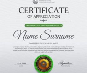 Green certificate template and geometric shape vector 01