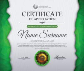 Green certificate template and geometric shape vector 02