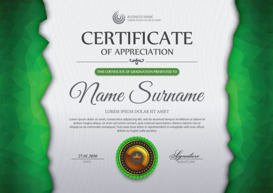 Green Certificate Template And Geometric Shape Vector 02  Free Appreciation Certificate Templates