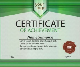 Green frame with certificate template vector